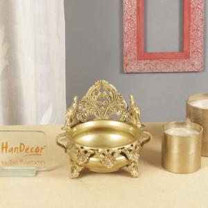 Ethnic Carved Brass 7 Inches Decor Urli Showpiece (Golden)