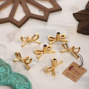 Tie Knot Design Cabinet/Wardrobe Knobs (Golden, Pack of 6)