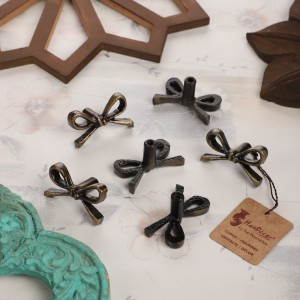 Tie Knot Design Antique Brass Finish Cast Iron Cabinet/Wardrobe Knobs (Standard Size) -Pack of 6