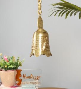 Buddha Head Design Brass Hanging Bell (Standard, Antique Yellow)