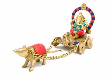 Ganesha on Chariot with Gemstone Showpiece