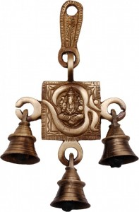 Two Moustaches Brass Om Ganesha Hanging Bells