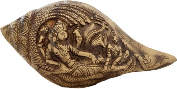 Shankh With Vishnu Carving (Antique Brown)