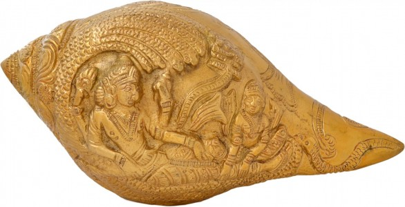 Shankh With Vishnu Carving (Yellow)