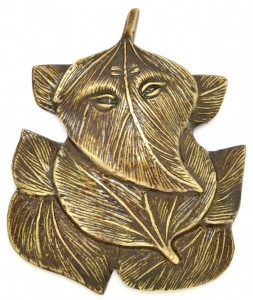 Ganesha Embedded on Leaves Wall Hanging