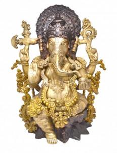 Handcrafted Brass Ganesha Brown Statue