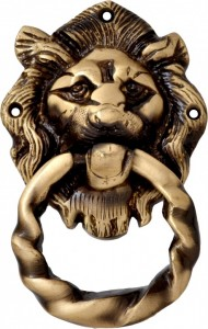 Brass Lion Mouth Door Knocker Moulded Ring
