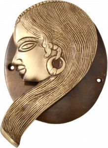 Tribal Lady Door Knocker With Plate Base