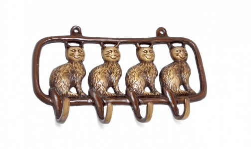 Brass Wild Cats Key Holder