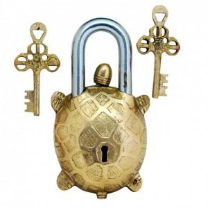 Tortoise Design Door Lock Golden
