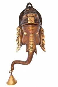 Crown Ganesha with Bell Wall Hanging