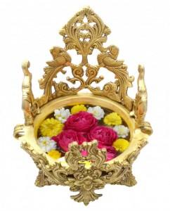 Elephant & Peacock Design Brass Urli  Bowl Showpiece
