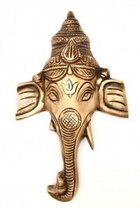 Crown Ganesha Wall Hanging - Golden