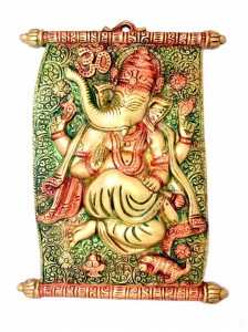 Scroll Design Ganesha Wall Hanging Multicolored
