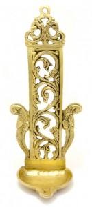 Ethnic Indian Pillar Design Peacock Diya Wall Hanging 11 Inches Golden
