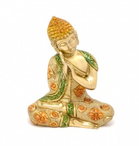 Buddha Resting Premium Brass Multicolored Showpiece