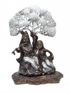 Radha Krishna Under Tree Premium Brass Silver Finish Showpiece