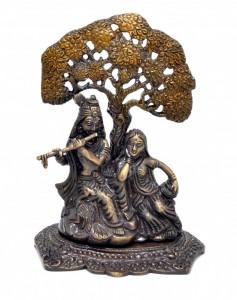 Radha Krishna Under Tree Premium Brass Copper Brown Showpiece