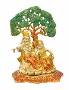 Radha Krishna Under Tree Premium Brass Multicolored Showpiece