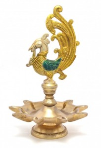Peacock Design Nine Wick Brass Oil Lamp Diya