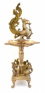 Peacock over Chowki Brass Diya