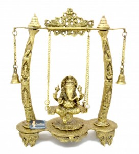 Handcrafted Tuskar Design Ganesha on Swing Jhoola Showpiece