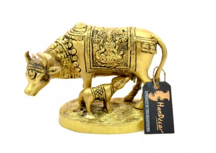 Brass Laxmi Ganesha Engraved Kamdhenu Cow and Calf